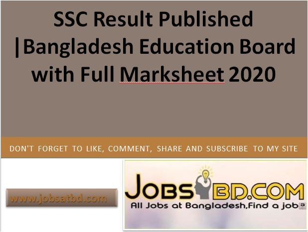 SSC Result Published |Bangladesh Education Board with Full Marksheet 2020