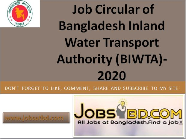 Job Circular of Bangladesh Inland Water Transport Authority (BIWTA)- 2020