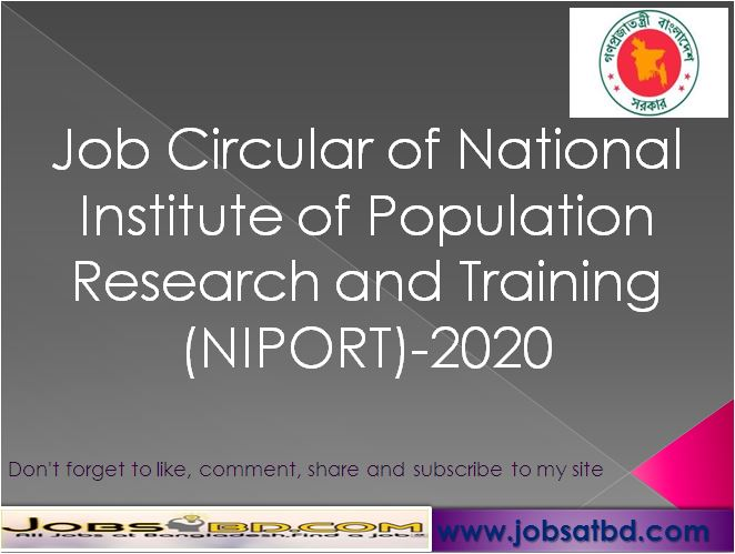 Job Circular of National Institute of Population Research and Training (NIPORT)-2020